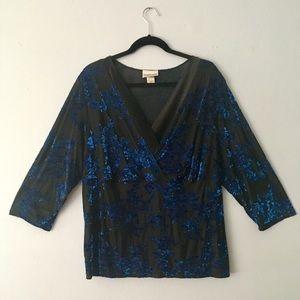 Fashion Bug 3/4 sleeve floral blouse EUC